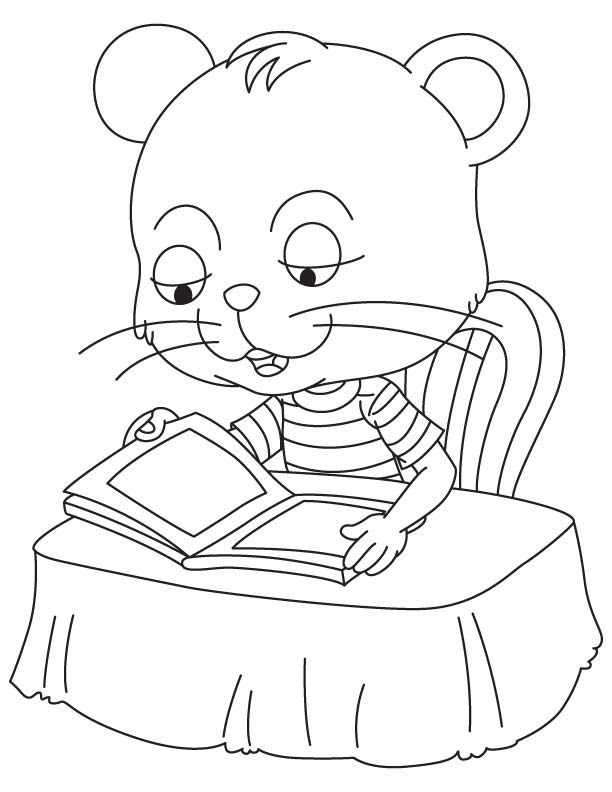 Supercat reading a book coloring page