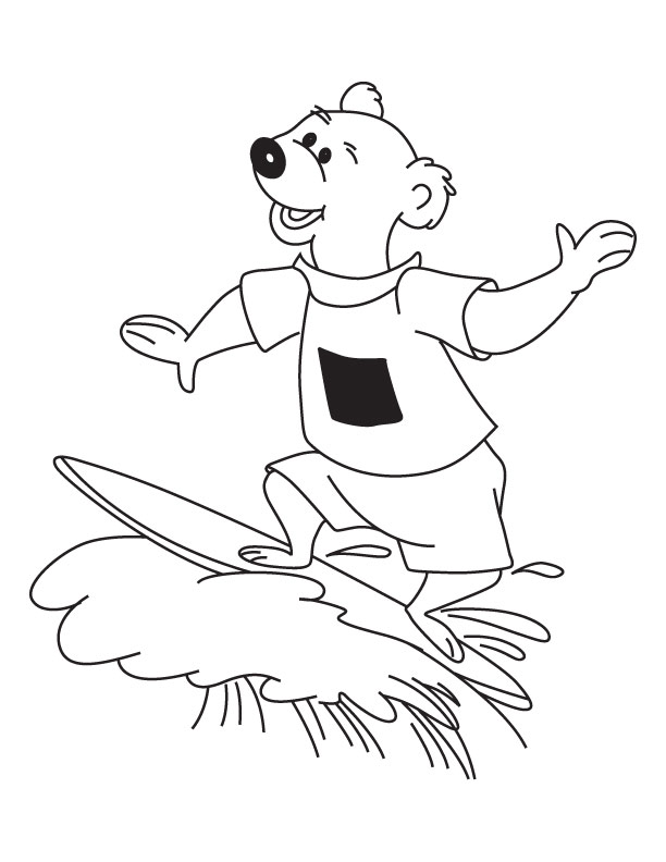 Bear surfing coloring page