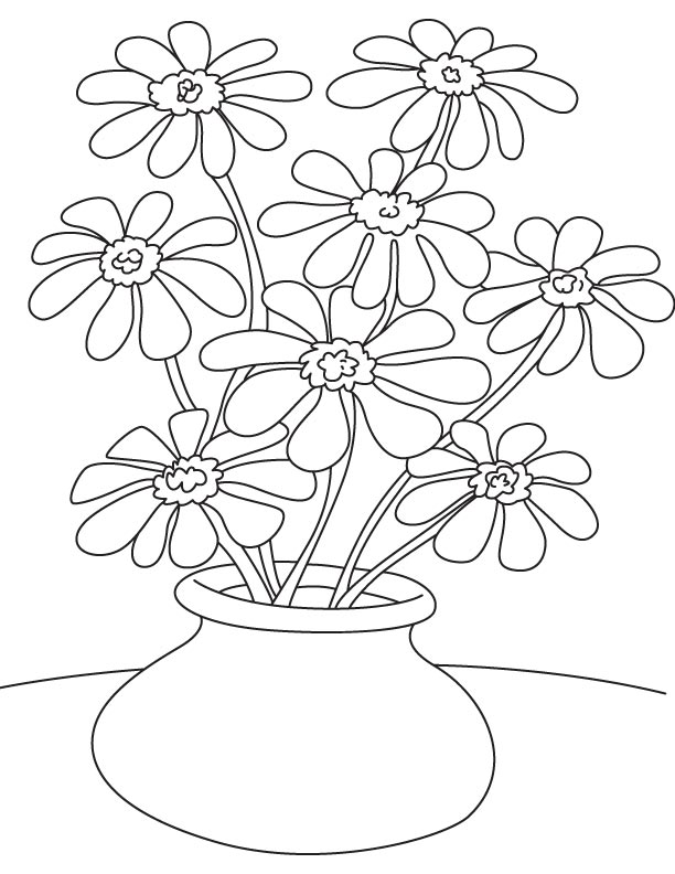 Susan Flowers Pot Coloring Page