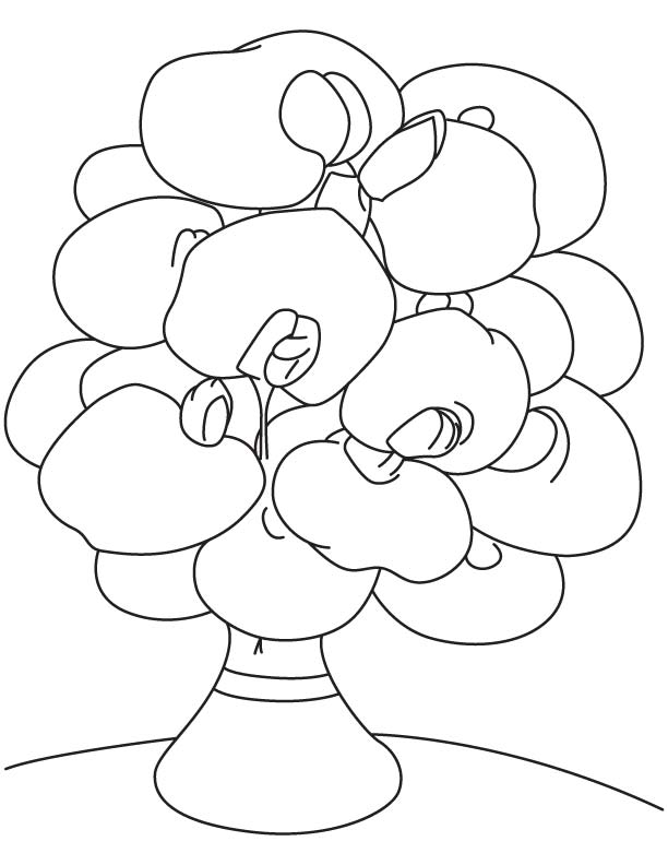 Sweet pea vase coloring page