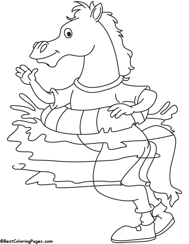 Swimmer horse coloring page