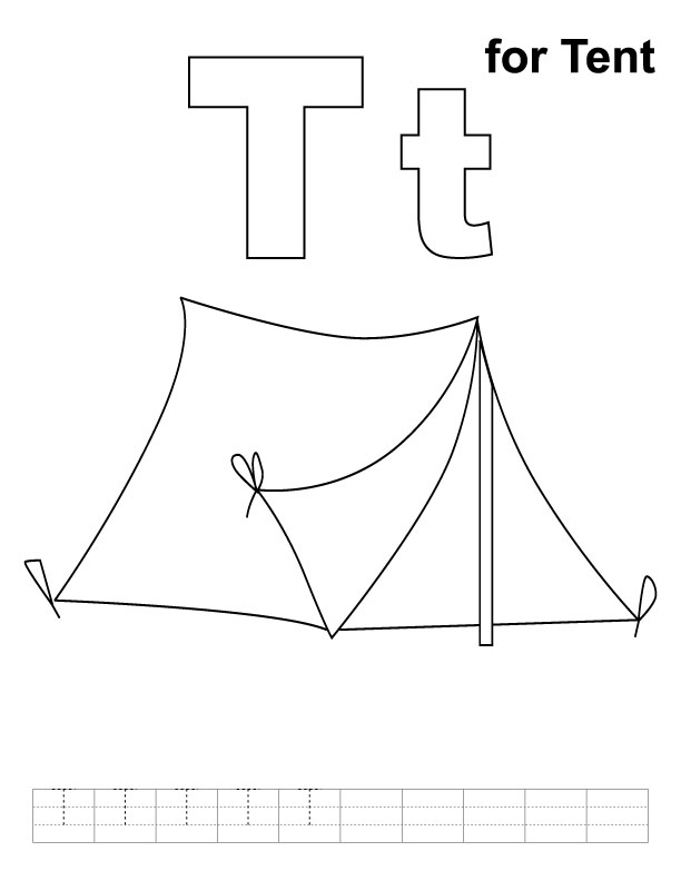 T for tent coloring page with handwriting practice