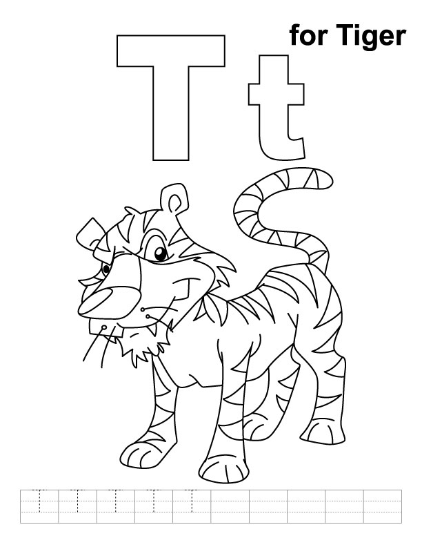 t for tiger coloring page with handwriting practice