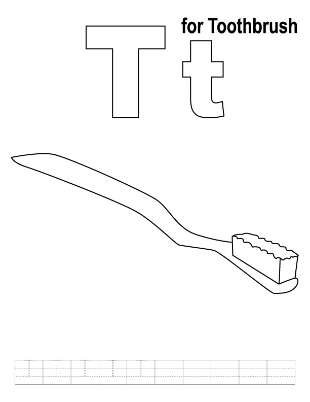 T for toothbrush coloring page with handwriting practice