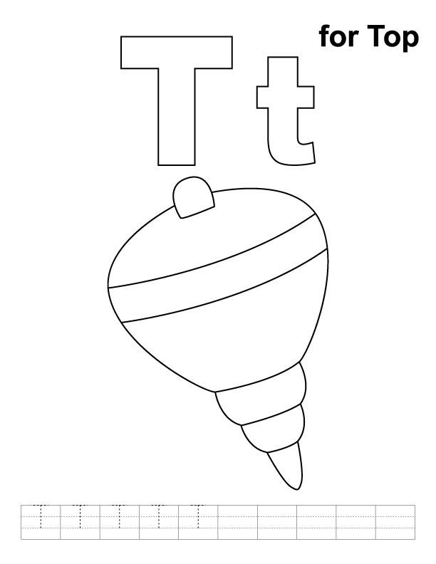 T For Top Coloring Page With Handwriting Practice Download Free T For Top Coloring Page With Handwriting Practice For Kids Best Coloring Pages
