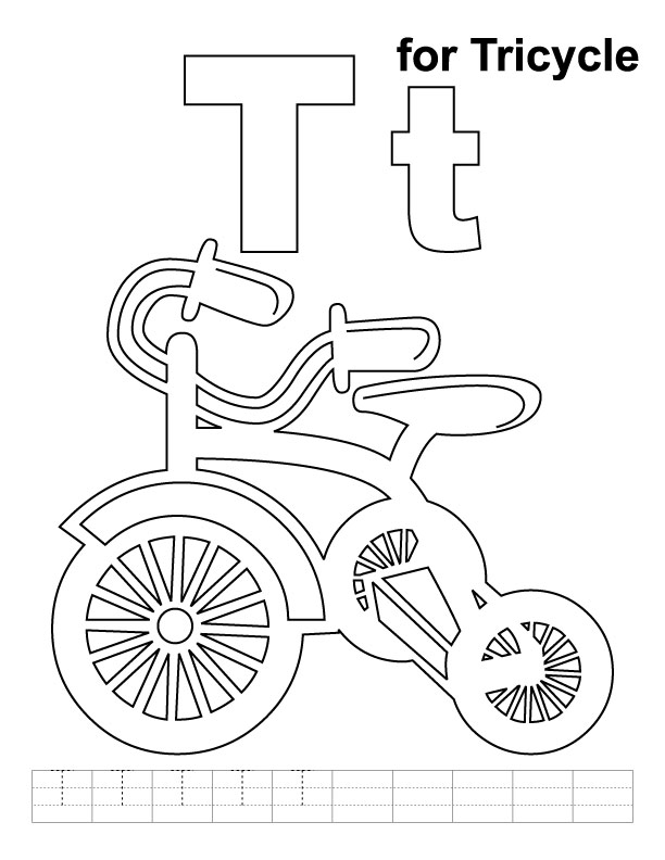 T for tricycle coloring page with handwriting practice
