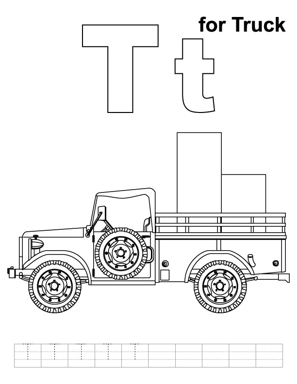 T for truck coloring page with handwriting practice