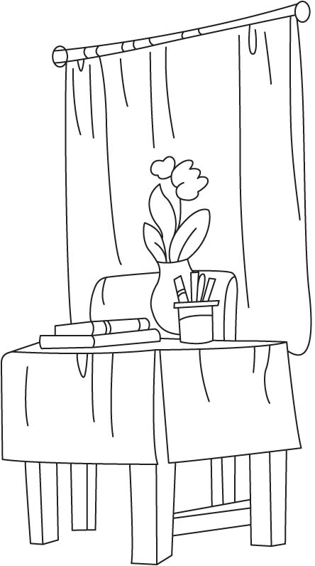 Table and chair coloring page