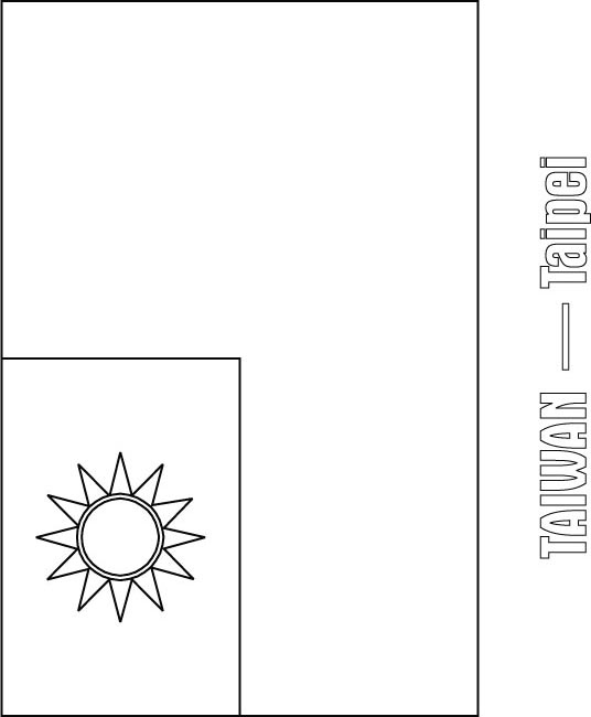 Taiwan Flag Coloring Page