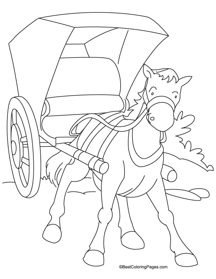 Horse cariage coloring Page 1