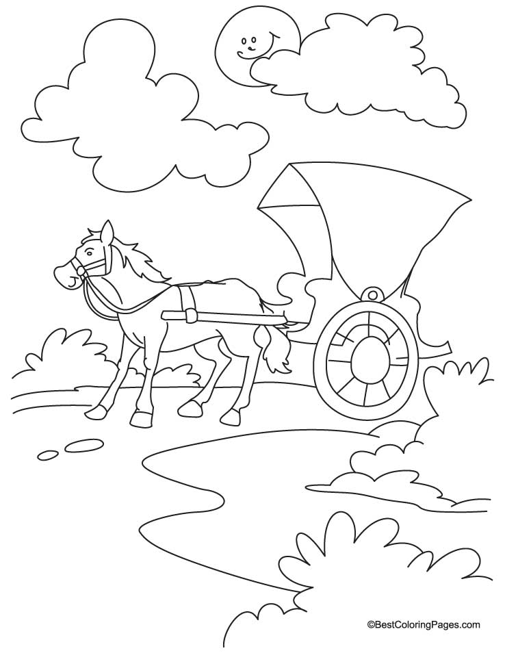 Horse cariage coloring Page 2