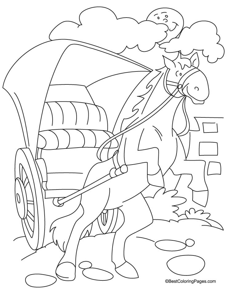 Horse cariage coloring Page 4