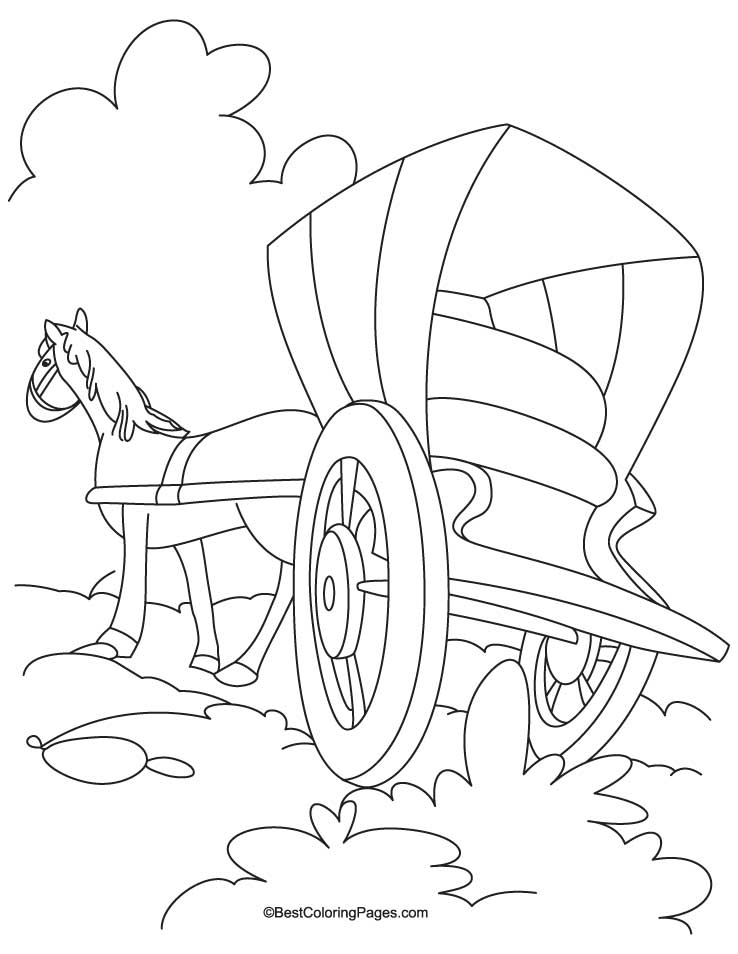 Horse cariage coloring Page 5
