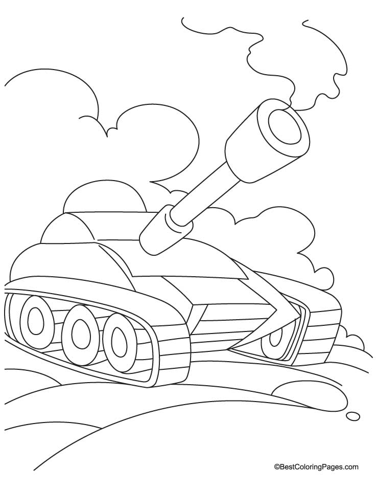 tank in field coloring page