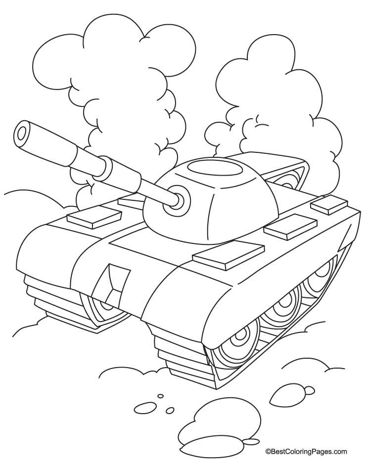 Tank With Cloud Coloring Page