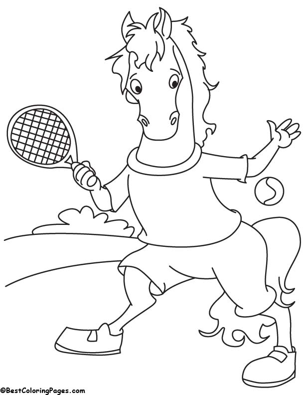 Tennis player horse coloring page