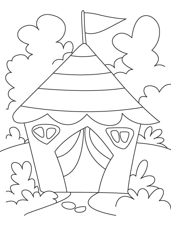 Tent house coloring page