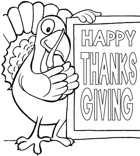 Sweet Thoughts For Thanksgiving Day Coloring Page