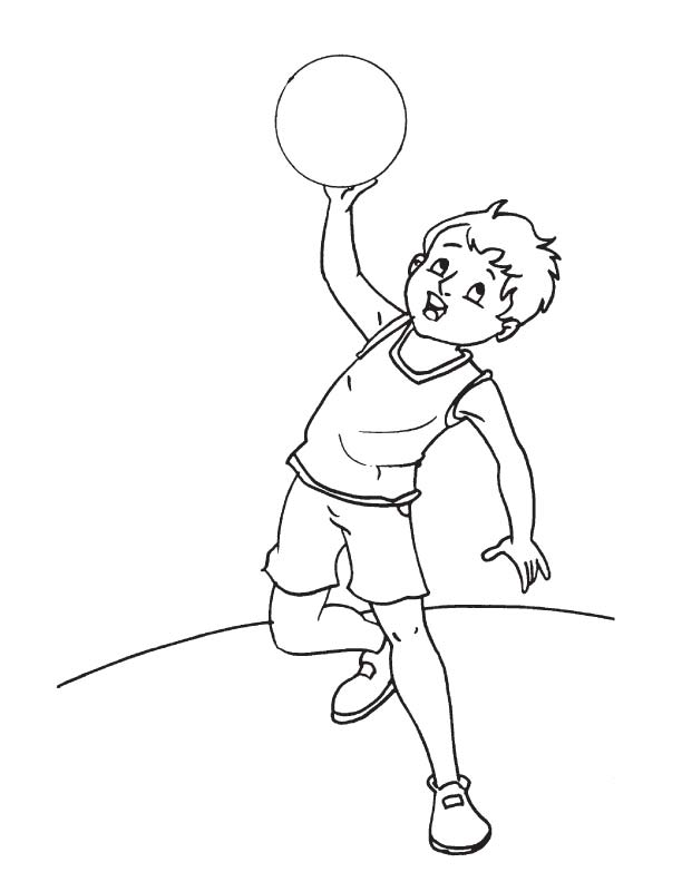 Throwing basketball coloring page