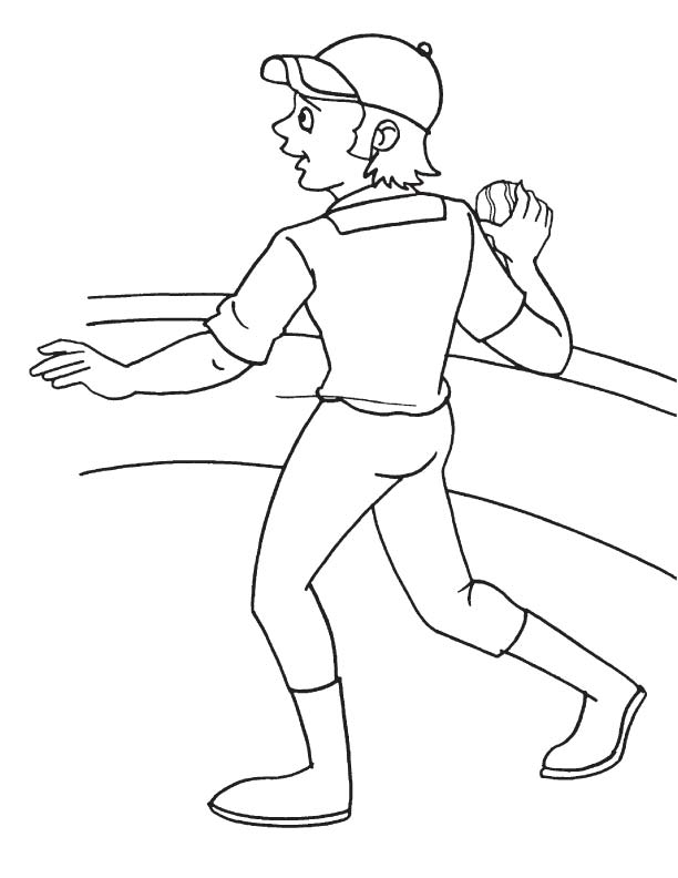 Throwing the ball coloring page