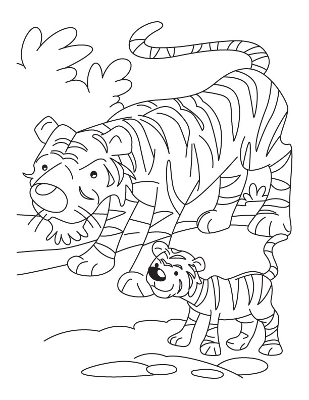 Tiger cub with mother tiger coloring page Download Free Tiger