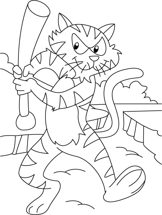 Tiger in a playful mood coloring pages