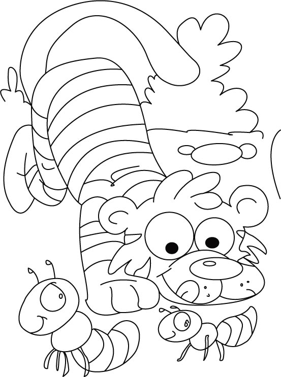Tiger passing time with ants coloring pages