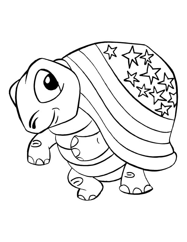 Smiling tortoise coloring pages