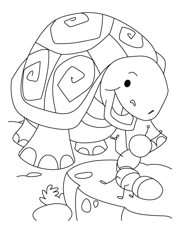 Tortoise laughing on ant joke coloring pages