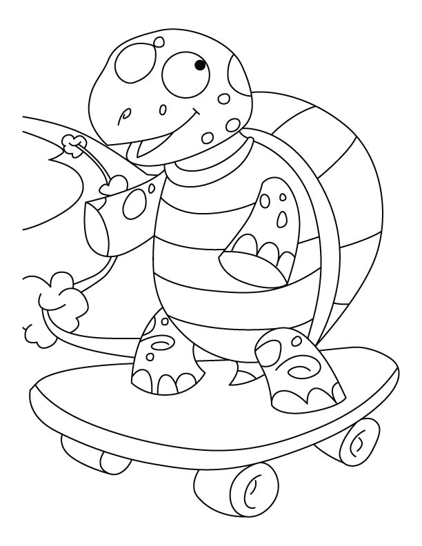 Balanced tortoise on skateboard coloring pages
