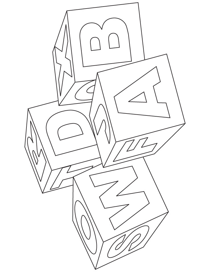 toy blocks drawing Letter Coloring Pages for Preschoolers  Block Letter Coloring Pages