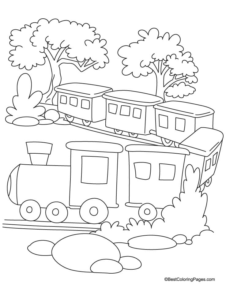 Train in jungle coloring page