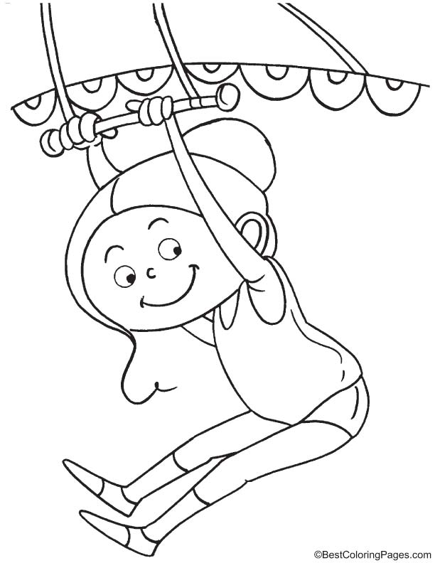 Trapeze artist 1 coloring page