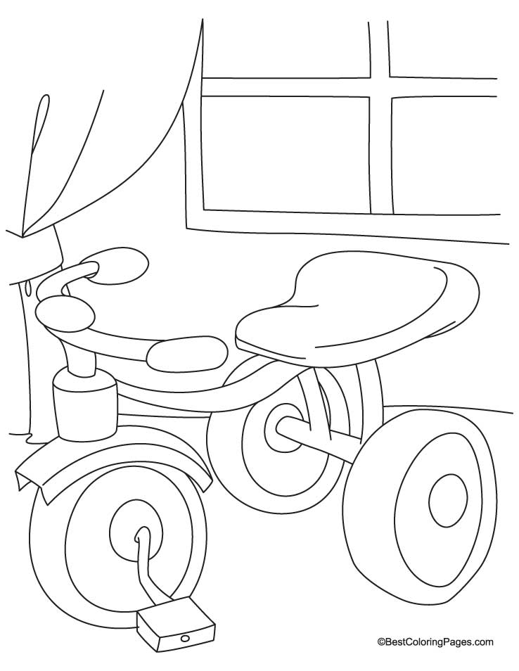 Cute tricycle coloring page