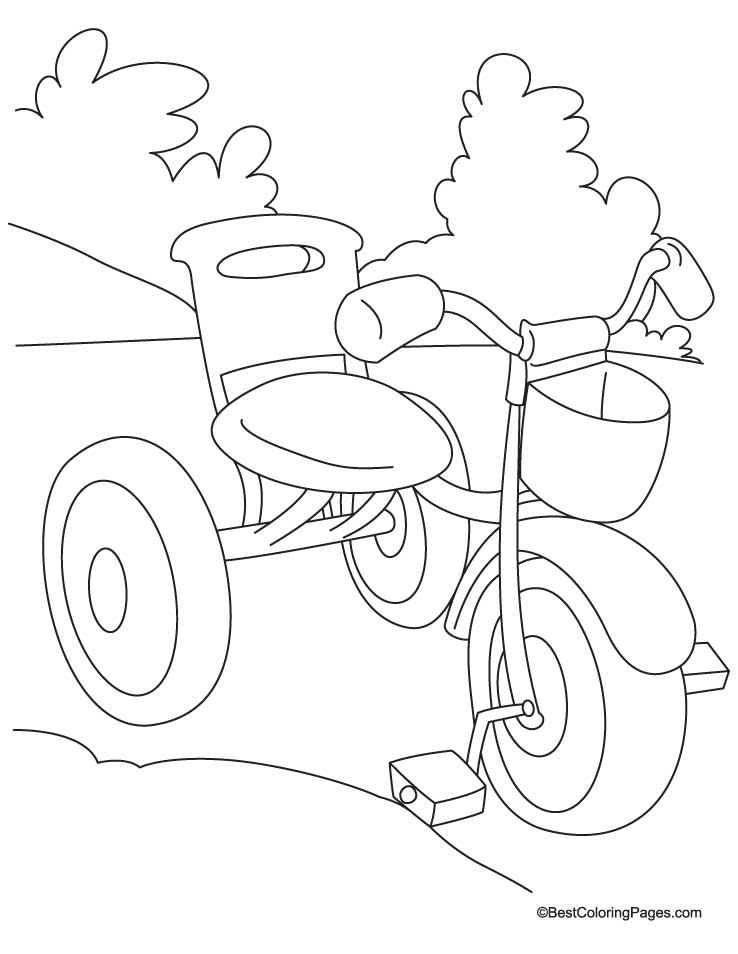 Kids tricycle coloring page