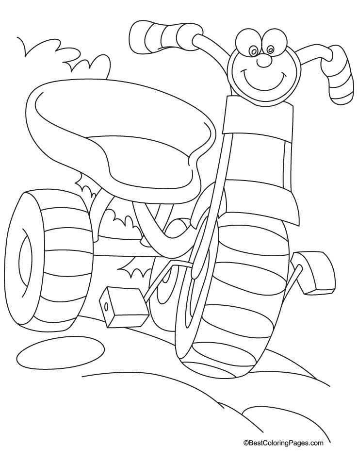 Happy tricycle coloring page