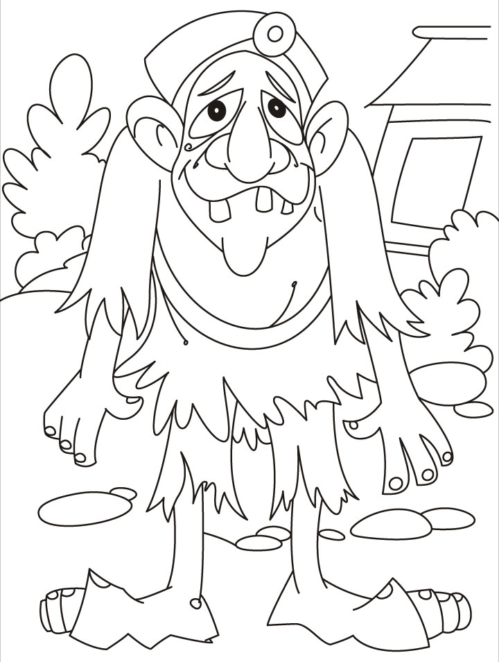 Old and tired troll coloring page