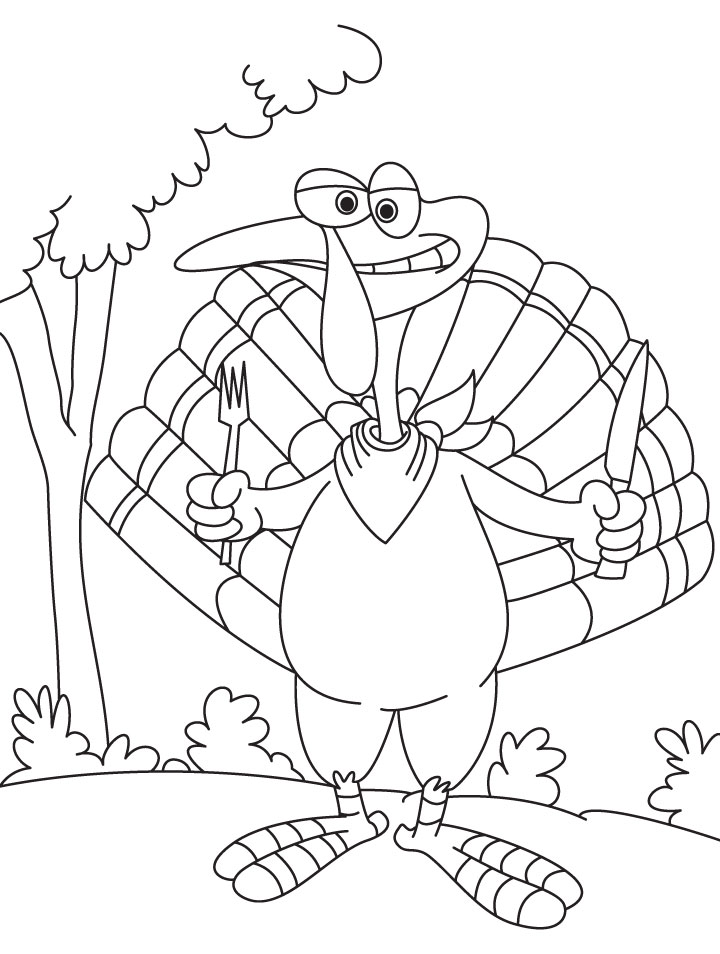 Turkey with knife and fork coloring page