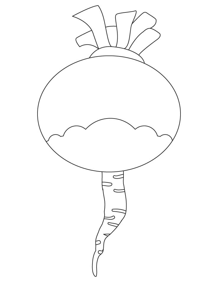 turnip vegetable coloring page