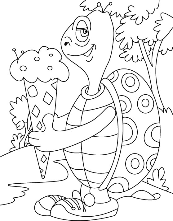 Turtle relishes, cone ice- cream coloring pages