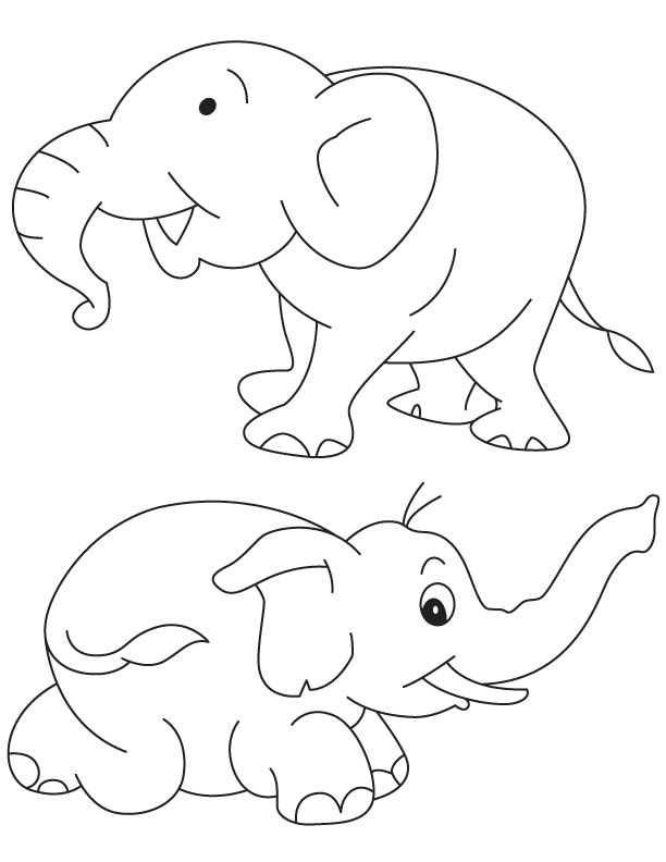 Two baby elephatns coloring page