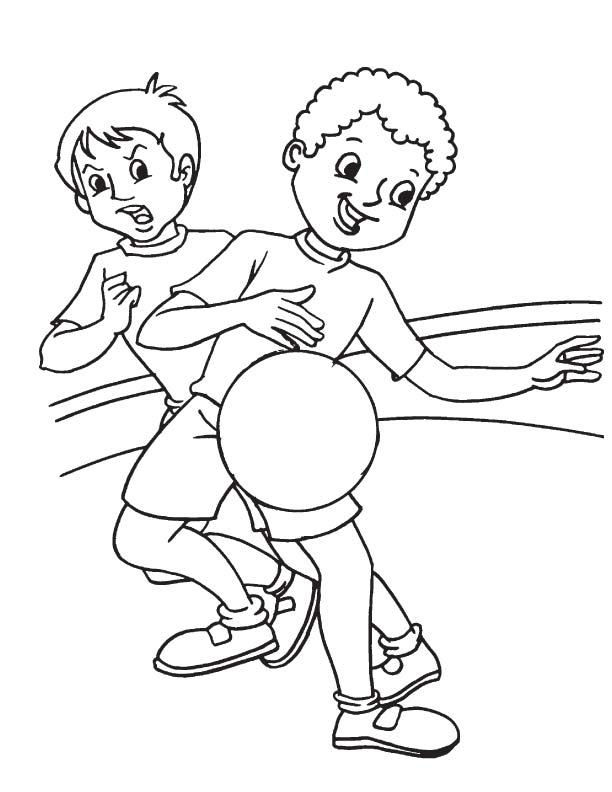 Two basketball players coloring page