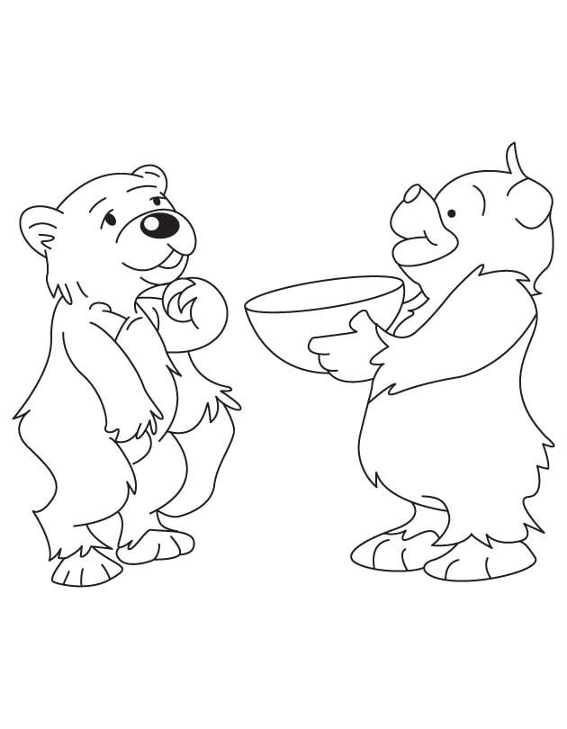Two Bear Cubs Coloring Page