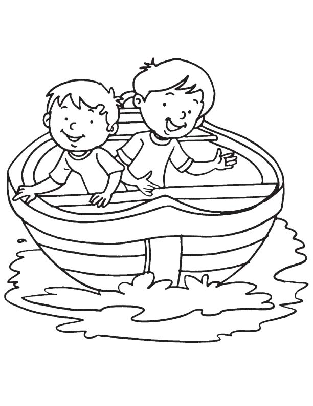 Two boy in a boat coloring page