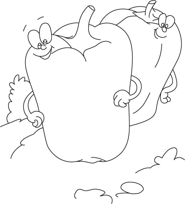 Two cartoon capsicum coloring pages