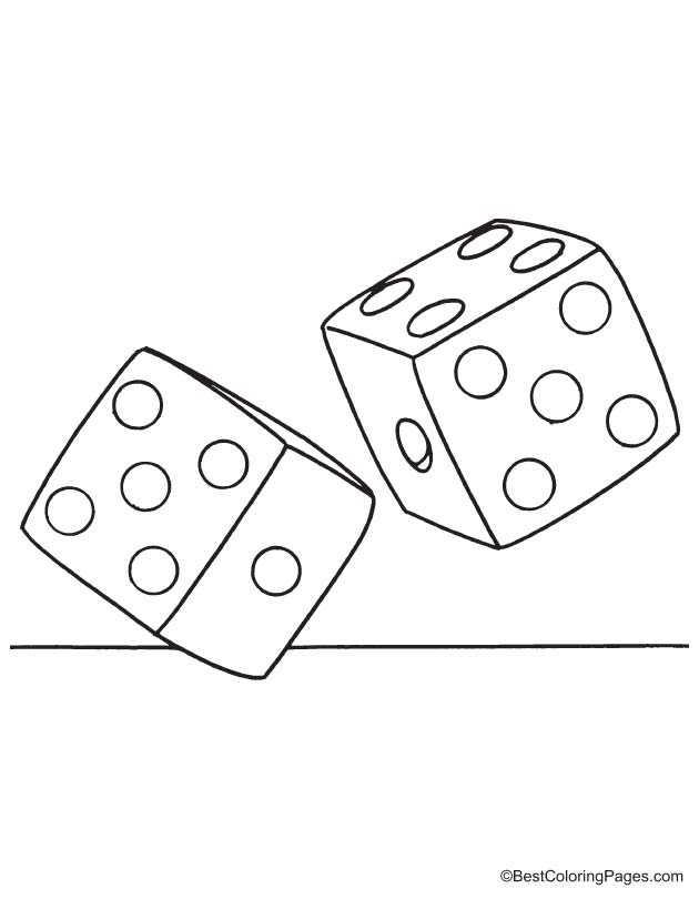 Two dice coloring page