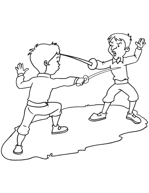 Two fencer coloring page