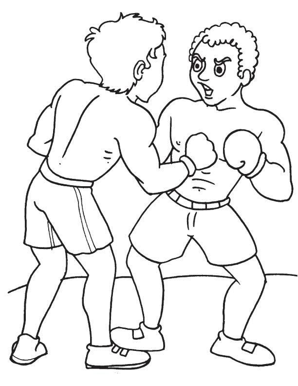 Two friends boxing coloring page