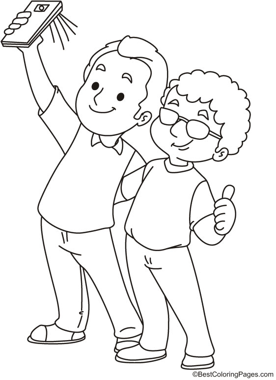 Two friends taking selfie coloring page