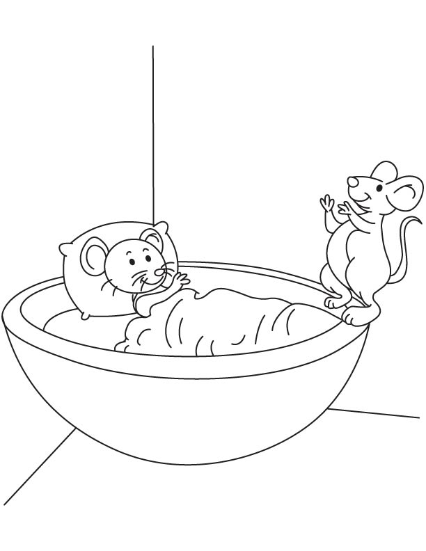 Two mouse pup coloring page